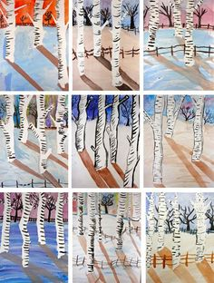 Birch Trees Lesson Inspired by Claude Monet's Magpie, graders create a ethereal winter landscape using traditional art techniques.Inspired by Claude Monet's Magpie, graders create a ethereal winter landscape using traditional art techniques. Winter Art Projects, School Art Projects, Tree Watercolor Painting, Watercolor Lesson, Kids Watercolor, Painting Art, Classe D'art, Birch Tree Art, 6th Grade Art