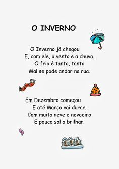 poesias infantis de inverno - Pesquisa Google Monthly Quotes, Winter Kids, Winter Activities, Coloring Books, Homeschool, Printables, Album, Education, My Love