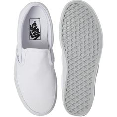 Vans True White Classic Slip On Trainers (510 NOK) ❤ liked on Polyvore featuring shoes, sneakers, vans, flats, flat soled shoes, vans shoes, slip on shoes, flat slip on shoes and pull on shoes