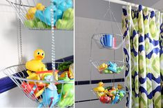 Hanging fruit basket bath toy storage solution love this. No soggy wet toys Bath Toy Storage, Bath Toy Organization, Kids Storage, Bathroom Organisation, Storage Ideas, Organizing, Hanging Fruit Baskets, Toy Storage Solutions, Hanging Storage