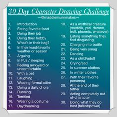 30 Day Character Drawing Challenge by MaddieMunnMakes. on 30 Day Character Drawing C Oc Drawings, Sketchbook Drawings, Cartoon Drawings, Easy Drawings, Sketches, Sketchbook Ideas, 30 Day Drawing Challenge, Art Style Challenge, Oc Challenge