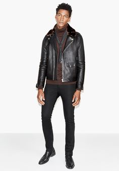 Today's Look: Leather Jacket. Photo: The Kooples. #ootd #menswear #mensfashion #mensstyle #instafashion #shearling #rollneck #leatherjacket #scarf