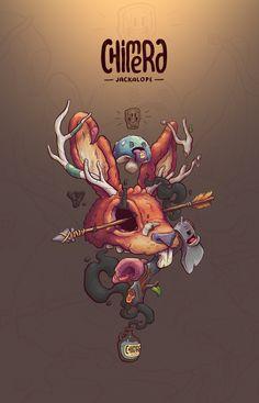 JACKALOPE Chimera   Print   Illustration   T Shirt in Poster