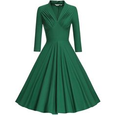 MUXXN Women's V Neck Elegant 3/4 Sleeve Vintage Bridesmaid Party Dress (1.765 RUB) ❤ liked on Polyvore featuring dresses, green v neck dress, v neck bridesmaid dresses, vintage bridesmaid dresses, vintage cocktail dresses and 3/4 sleeve bridesmaid dresses