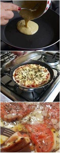 Pizza de Frigideira com Massa Caseira Deliciosa #pizzafacil #pizzarapida #pizza #salgados
