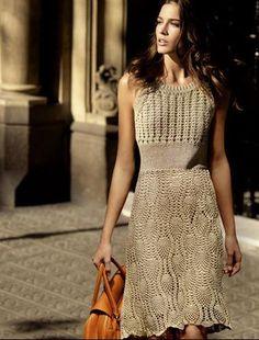 Beautiful Crochet Dress- Pattern with Charts! by Fashionmia Crochet Vintage, Crochet Lace, Crochet Summer, Crochet Skirts, Crochet Clothes, Golden Lace Dress, Dress Patterns, Crochet Patterns, Crochet Ideas