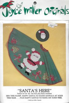 Joyce Miller Originals Santa's Here 44 inch Christmas Tree Skirt Sewing Pattern by Denisecraft on Etsy