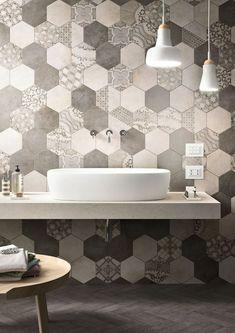 Cool bathroom. #interiordesign #bathroom #hexagon