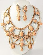 READY TO SHIP Gorgeous statement bib necklace and earrings set, painted nude, beige,
