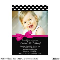 Pink Bow Polka Dots 1st Birthday Girl Photo 5x7 Paper Invitation Card