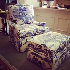 Custom Theodore Alexander club chair and ottoman covered in Lee Jofa's willow pattern via http://www.trendsntraditions.com/ #interiordesign #theodorealexander