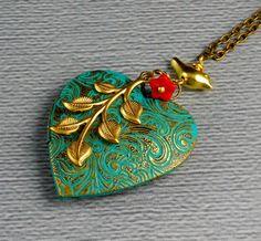 Bohemian Heart Shaped Bird Brass Branch Vintage Locket, Valentine Patina Brass…