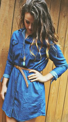 Collared Denim Belt Dress – Simply Taralynn Collection