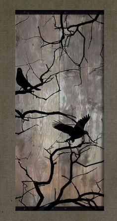 Birds on a Bare Tree – Set of 2 Paintings on Reclaimed Barn Wood – Bird Wood Burning Crafts, Wood Burning Art, Wood Crafts, Diy Wood, Diy Crafts, Pallet Painting, Painting On Wood, Wood Paintings, Diy Painting