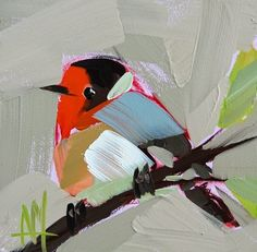 """Daily Paintworks - """"Red Faced Warbler Painting"""" - Original Fine Art for Sale - © Angela Moulton"""