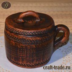Кружка с крышкой или травник - гончарная керамика ручной работы в интернет магазине Рукоделец