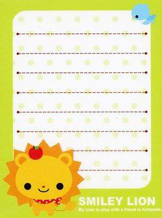 Free Notes: Smiley Lion  #free #printables #cute #kawaii #asian #stationary #lion #memo