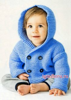 Double-breasted jacket with hood Baby Boy Knitting, Knitting For Kids, Mens Winter Sweaters, Baby Boy Cardigan, Crochet Coat, Crochet For Boys, Double Breasted Jacket, Ethical Clothing, Sweater Knitting Patterns