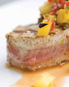 """Yellowfin Tuna with Grilled Pineapple Salsa This dish exemplifies simplicity at its best. This recipe is from """"Emeril at the Grill"""" by Emeril Lagasse. Tuna Steak Recipes, Grilling Recipes, Fish Recipes, Seafood Recipes, Cooking Recipes, Grilling Ideas, Dinner Recipes, Grilled Pineapple Salsa Recipe, Deserts"""