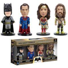 Funko Wacky Wobbler: Batman v Superman: Dawn of Justice, 4 Pack Minis, Multicolor