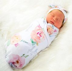 Baby Girl Personalized Baby Blanket Floral Baby Blanket