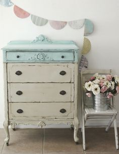 Antique Two-Tone Shabby Chic Highboy