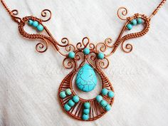 Copper wire and turqoise necklace | Flickr - Photo Sharing!