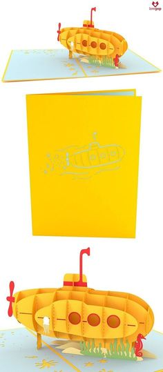 We all live in a yellow submarine! Gift this playful pop up card just because. #underthesea #submarine