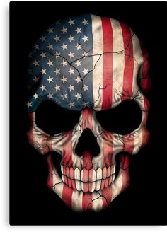 This unique design features the flag of The United States painted on an aggressive skull. The American colors cover the entire skull with large cracks snaking across the bone. This dark pattern is a unique way to show off your patriotism. Wallpaper Caveira, Bruder Tattoo, Police Tattoo, Punisher Skull, Punisher Logo, Skull Artwork, Horror, Skull Tattoos, Thin Blue Lines