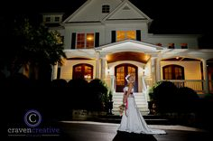 Beautiful dress with a beautiful house! Gown from Songbirds Bridal, Formal & Consignments. Photo by Craven Creative. Venue is the Oaks at Salem. #bride #bridal #gown #weddinggown #bridalgown #ncbride #yestothedress #weddingphotography #triadbride
