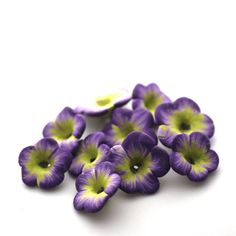 Polymer Clay Flowers Purple Lime Beads Tropical by tooaquarius