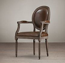 Black Oak Drifted with Destroyed Italian leather in Espresso-Vintage French Round Leather Armchair Mixed Dining Chairs, Warm Dining Room, White Kitchen Chairs, Round Back Dining Chairs, Living Room Chairs, Side Chairs, Lounge Chairs, Bag Chairs, Living Rooms
