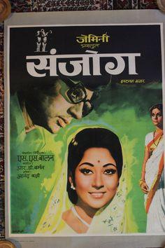 Vintage original Bollywood movie poster  Sanjog by KoolThingLLC, $79.99