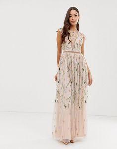 364375a170a1f8 ASOS DESIGN - Robe longue en tulle à sequins avec jolies fleurs brodées |  ASOS Broderie