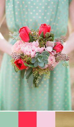 Bouquet in Hemlock Green, red, blush pink and metallic gold. Source: wedding chicks #bouquet #hemlockgreen