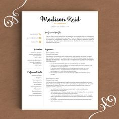 Modern Resume Template for Word & Pages 1 2 by TheTemplateStudio
