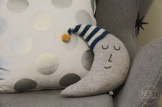 Baby L's Star Themed Nursery Moon Shaped Pillow – absolutely adorable!