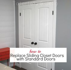 Make the most of your closet space. Here's a tutorial on how to replace sliding closet doors with standard doors. This is a great idea if you need to store something wide in your closet or want to access more of your closet space. - April 20 2019 at Home Projects, Home Improvement, Closet Bedroom, Remodel, Home Remodeling, Home Decor, Home Diy, Sliding Closet Doors, Barn Doors Sliding
