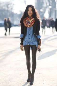 leather leggings. chambray top. patterned scarf.
