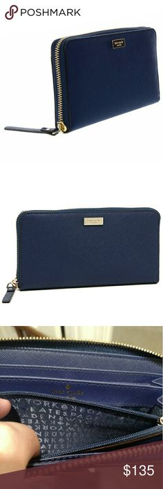 NWT Kate Spade navy wallet neda Newbury lane NWT Kate Spade neda Newbury lane wallet.  Navy blue color with yellow gold zipper.  All Navy interior.  Gotta get it before it's gone! kate spade Bags Wallets