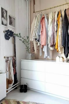 Ideas & Inspiration: Storing Clothes in Apartments with No Closets — Renters Solutions// Hanging clothes bar + dresser = twice the storage power. Bedroom Storage Ideas For Clothes, Bedroom Storage For Small Rooms, Bedroom Organization, Organization Ideas, Bedroom Ideas, Bedroom Small, Wardrobe Small Bedroom, Storage Room, Closet Storage
