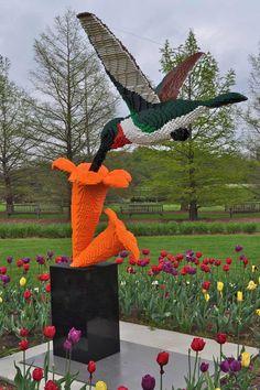 Hummingbird Lego sculpture