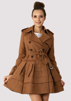 Camel Double Breasted Peplum Coat - Outers - Retro, Indie and Unique Fashion