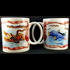 Winnie The Pooh Tigger Eeyore 2 Mugs Coffee Cocoa Ice Skating Gift Idea Xmas Disney Coffee Mugs, Coffee Mugs Vintage, Disney Mugs, Cute Coffee Mugs, I Love Coffee, Coffee Time, Eeyore, Tigger, Coffee Mug Drawing