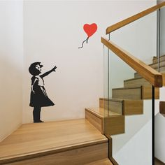 Banksy Balloon Girl Wall Stickers by Wallboss on Etsy https://www.etsy.com/uk/listing/117749305/banksy-balloon-girl-wall-stickers