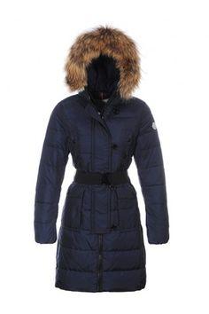 New Moncler Women's Blue Genevrier Belted Coat $335.00