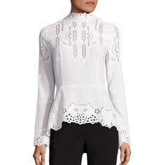 Yigal Azrouel Embroidered Cotton Blouse (2.485.035 COP) ❤ liked on Polyvore featuring tops, blouses, apparel & accessories, optic, white blouse, white eyelet top, long sleeve peplum top, embroidered blouse and long sleeve tops