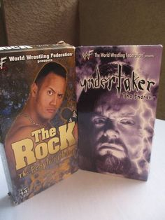 """2 VHS lot WWF The Rock """"People's Champ"""" and the Undertaker """"The Phenom"""""""