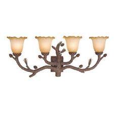 NEW 4 Light Rustic Pine Tree Bathroom Vanity Lighting Fixture, Amber Glass
