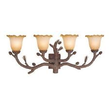 NEW 4 Light Rustic Pine Tree Bathroom Vanity Lighting Fixture, Amber Glass